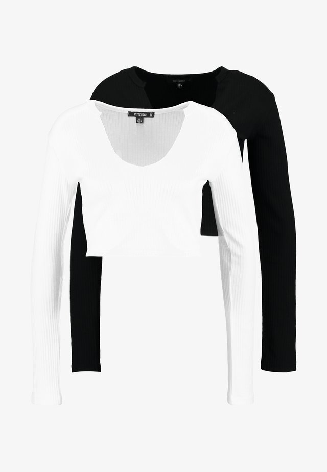 NOTCH NECK LONG SLEEVE CROP 2 PACK - Langarmshirt - black/white