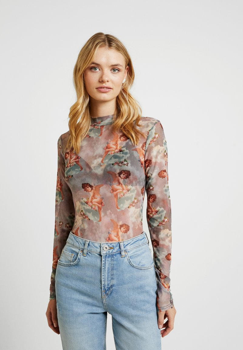 Missguided Tall - FLORAL CHERUB PRINT BODYSUIT - Long sleeved top - pink