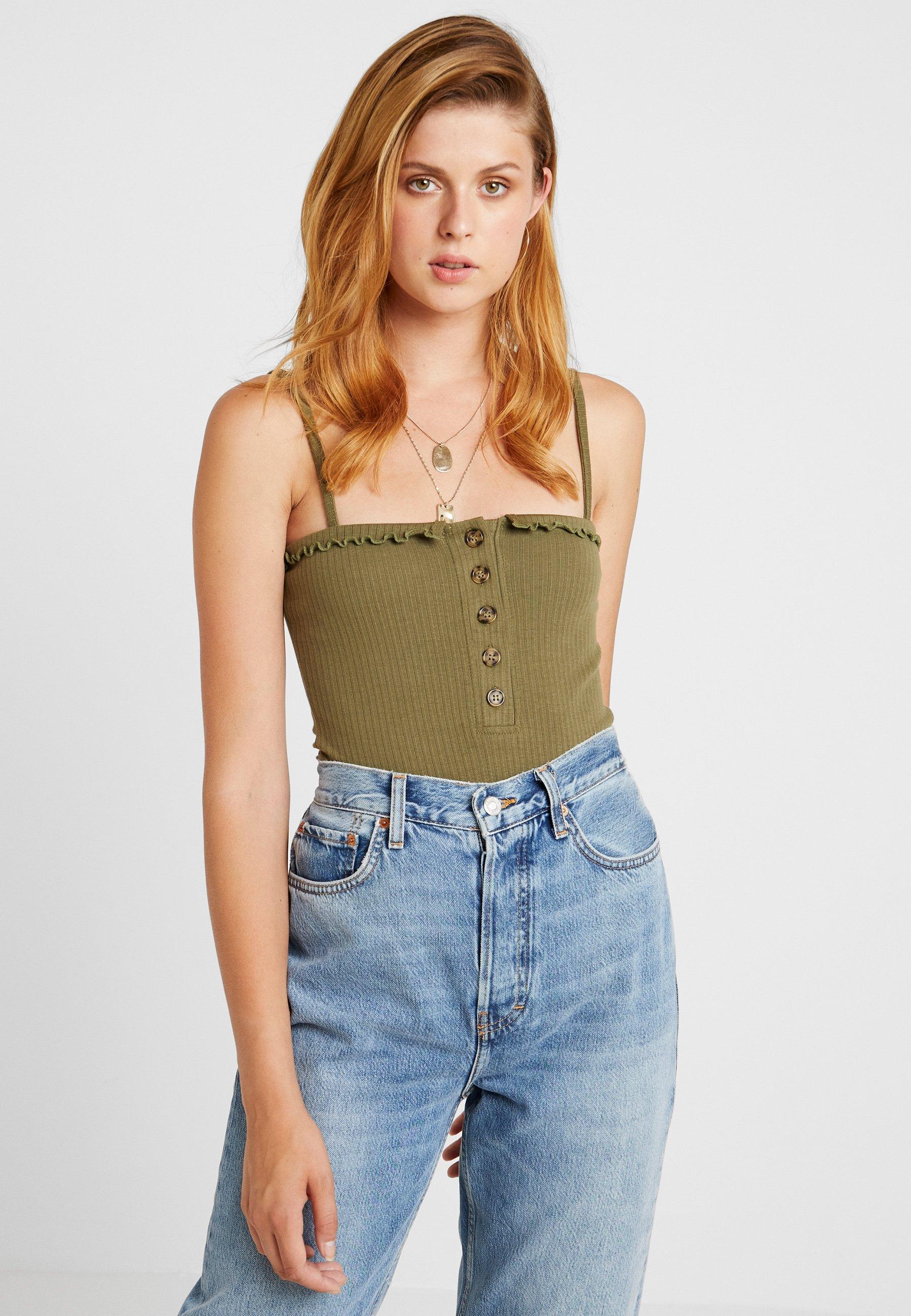 Khaki Bodysuit rust Tall Neck Button Lettuce 2packTop Edge Front Missguided Straight wOPkn0