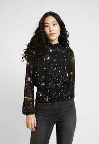 Missguided Tall - SPACE PRINT SHIRRED CROP - Blouse - black - 0