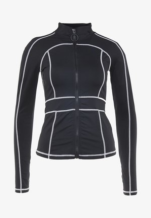CONTRAST PANEL LONG SLEEVE ACTIVEWEAR - Bluza rozpinana - black
