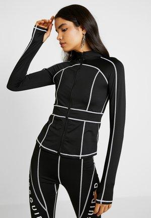 CONTRAST PANEL LONG SLEEVE ACTIVEWEAR - Zip-up hoodie - black