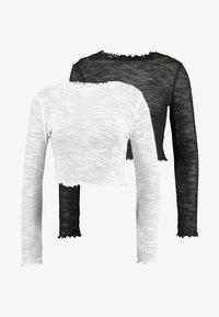 Missguided Tall - TEXTURED LETTUCE LONG SLEEVED 2 PACK - Topper langermet - white/black - 3