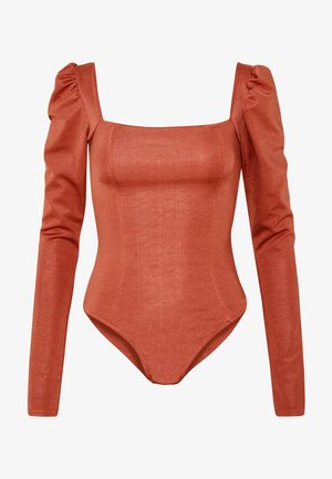 SQUARE NECK PANELLED BODYSUIT - Top s dlouhým rukávem - rust