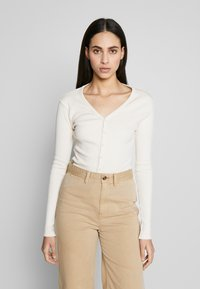 Missguided Tall - BUTTON UP LONG SLEEVED - T-shirt à manches longues - cream - 0