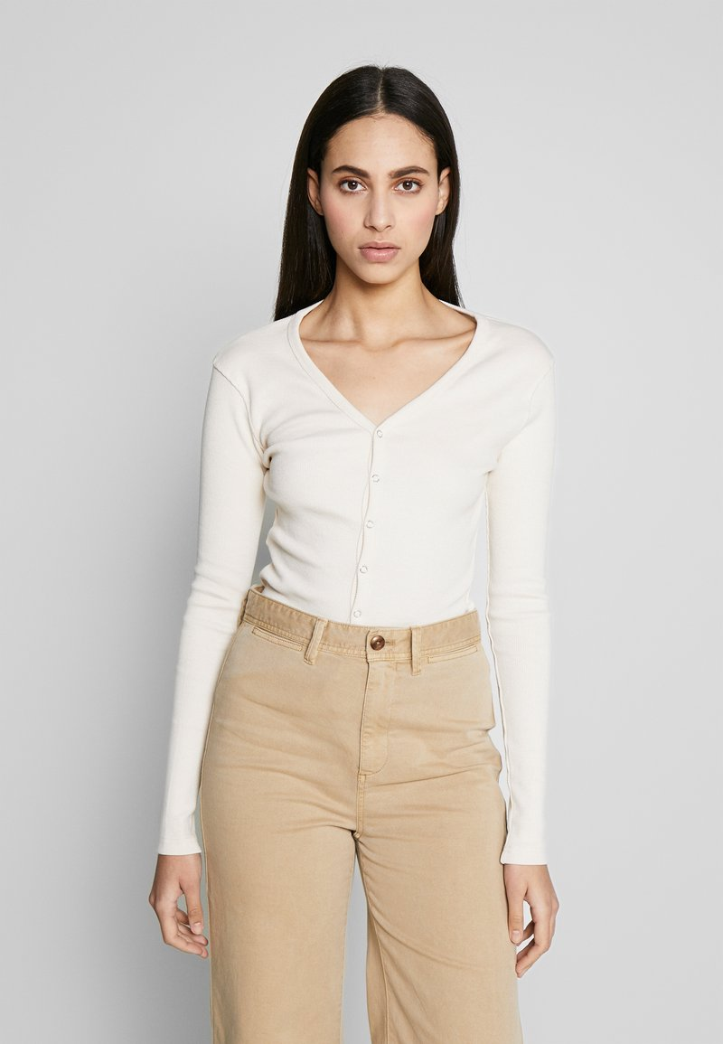 Missguided Tall - BUTTON UP LONG SLEEVED - T-shirt à manches longues - cream