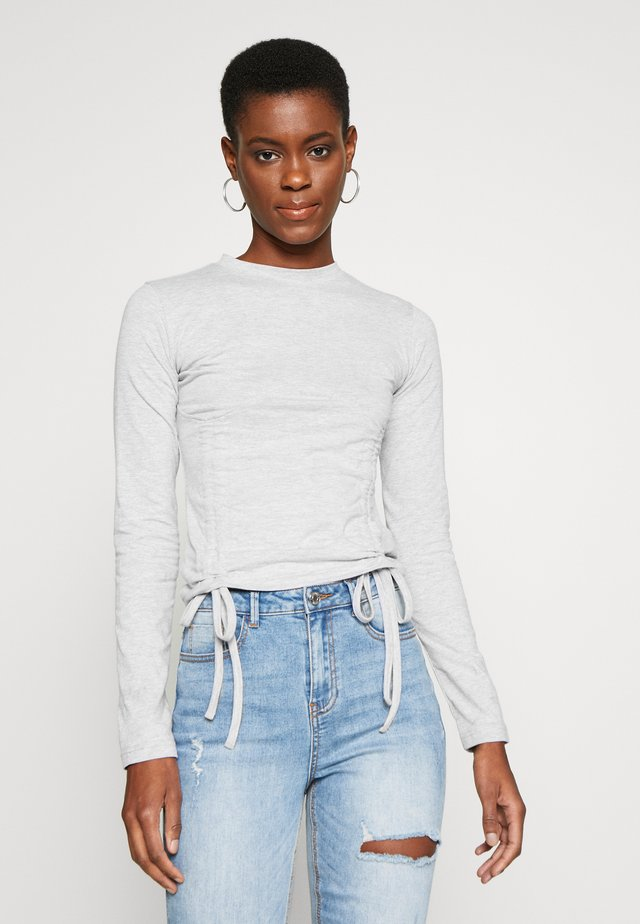 RUCHED DETAIL CORSET TOP - Long sleeved top - grey
