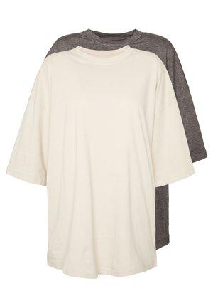 2 PACK DROP SHOULDER OVERSIZED - Basic T-shirt - sand/grey