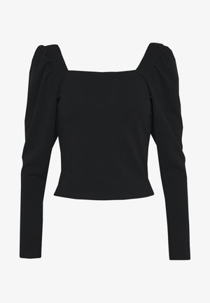 SQUARE NECK TOP - Top sdlouhým rukávem - black