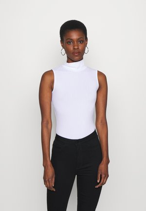 HIGH NECK SLEEVELESS BODYSUIT - Débardeur - white