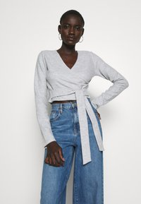 Missguided Tall - BRUSHED LONG SLEEVE WRAP TOP - Topper langermet - grey - 0