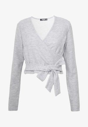BRUSHED LONG SLEEVE WRAP TOP - Long sleeved top - grey