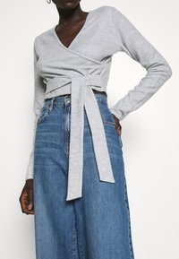 Missguided Tall - BRUSHED LONG SLEEVE WRAP TOP - Topper langermet - grey - 5