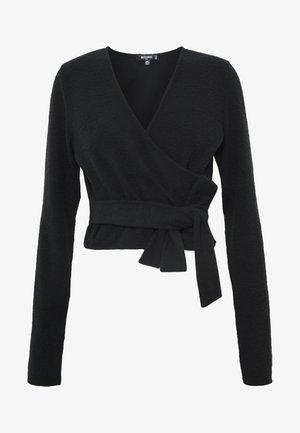 BRUSHED LONG SLEEVE WRAP TOP - Long sleeved top - black