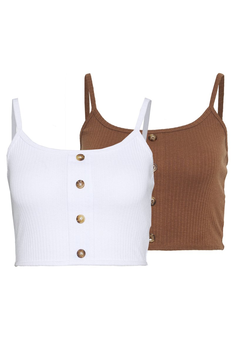 Missguided Tall - BUTTON DOWN CROP CAMI 2 PACK  - Top - white/toffee