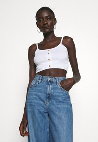 Missguided Tall - BUTTON DOWN CROP CAMI 2 PACK  - Top - white/toffee - 2