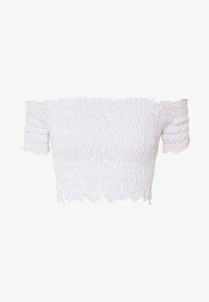 SHIRRED BARDOT CROP TOP - T-shirt basique - white