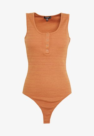 POPPER SLEEVELESS RIBBED BODYSUIT - Topper - hazel