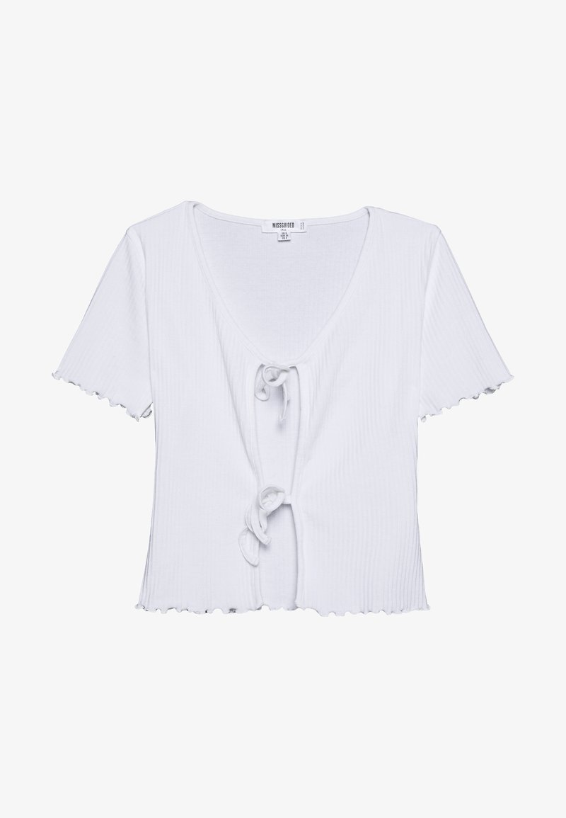 Missguided Tall - TIE FRONT CROP - Basic T-shirt - white