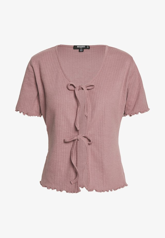 TIE FRONT CROP - Basic T-shirt - sepia rose