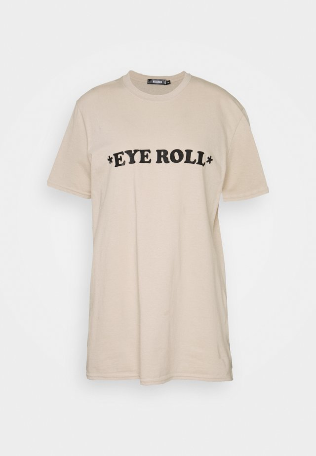 TALL EYE ROLL - T-shirt z nadrukiem - beige