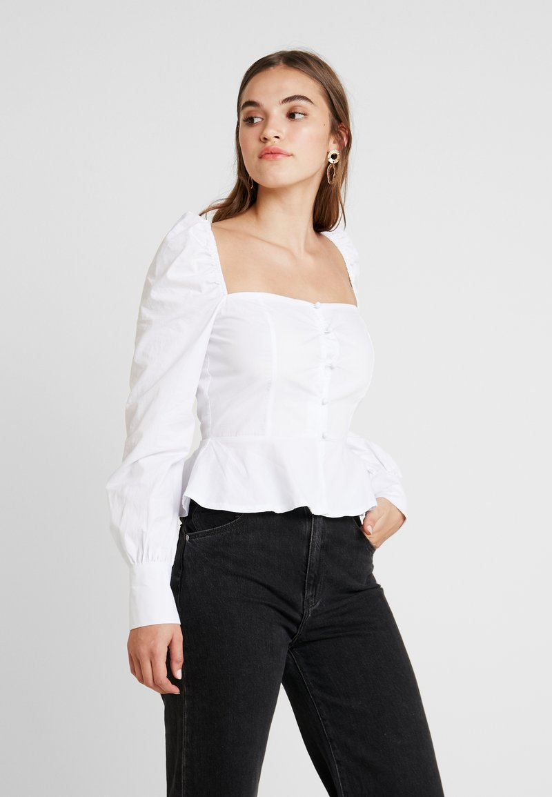 Missguided Tall - SQUARE NECK PEPLUM - Bluse - white