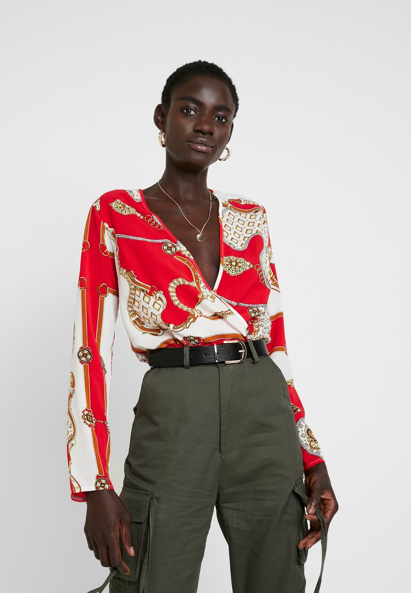 Missguided Tall - WRAP FRONT BODYSUIT - Blouse - red