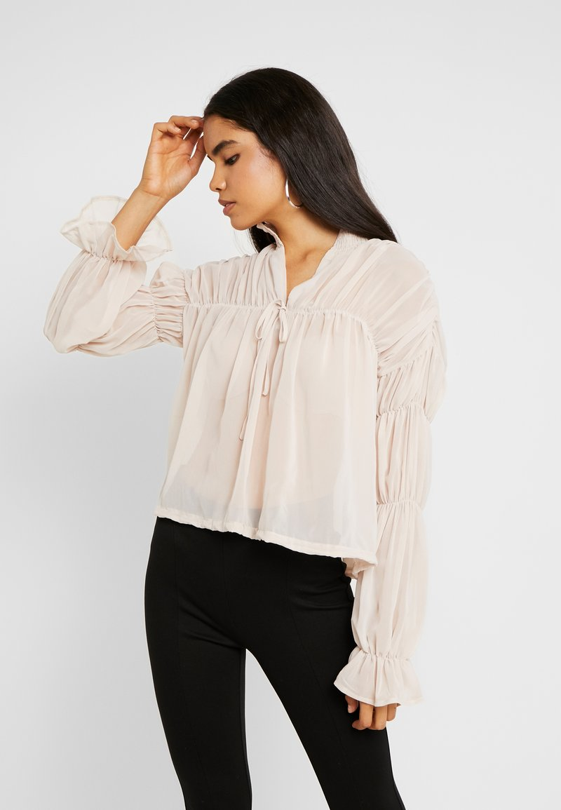 Missguided Tall - SHEER POET BLOUSON SLEEVE BLOUSE - Bluse - offwhite