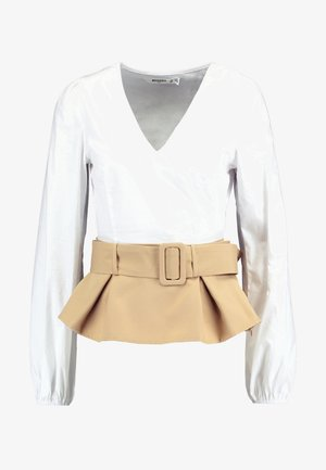 CONTRAST BELTED PEPHEM - Blouse - white