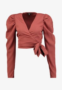 Missguided Tall - PUFF SLEEVE WRAP CROP - Blus - rust - 3