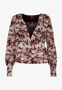 Missguided Tall - FLORAL BUTTON FRONT BLOUSE - Bluser - burgundy - 4