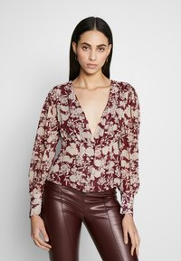 Missguided Tall - FLORAL BUTTON FRONT BLOUSE - Bluser - burgundy - 0