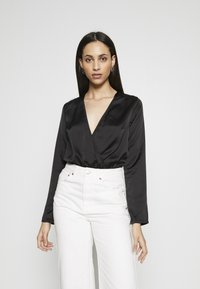 Missguided Tall - WRAP FRONT BODYSUIT - Blouse - black - 0