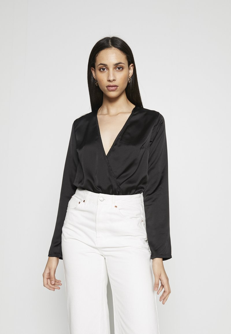 Missguided Tall - WRAP FRONT BODYSUIT - Blouse - black