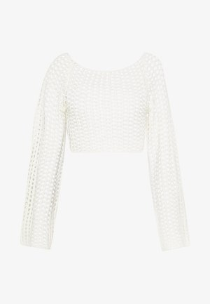 WIDE NECK CROCHET CROP - Jumper - cream