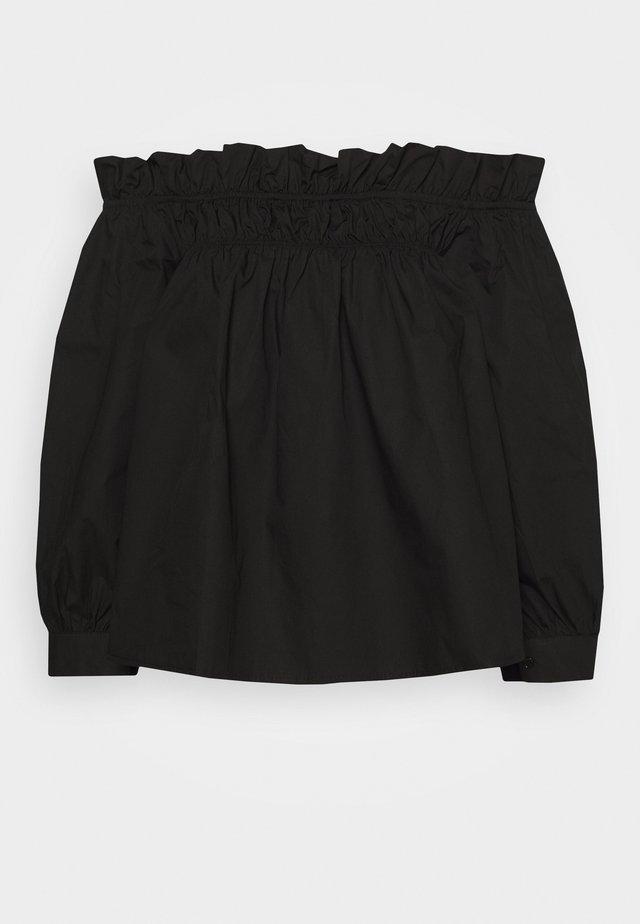 POPLIN BARDOT FRILL DETAIL - Pusero - black