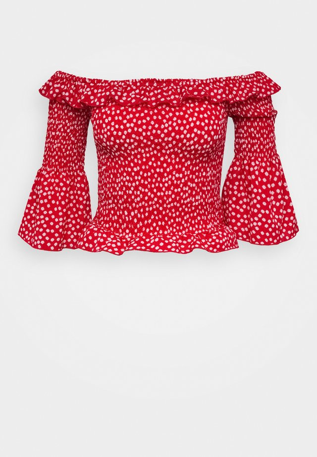 DITSY SHIRRED BARDOT - Blus - red