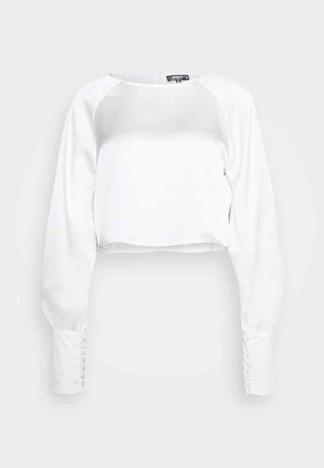 LONG SLEEVE ROUND NECK  - Blouse - white
