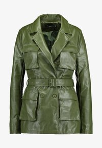 Missguided Tall - UTILITY POCKET - Faux leather jacket - deep green - 3