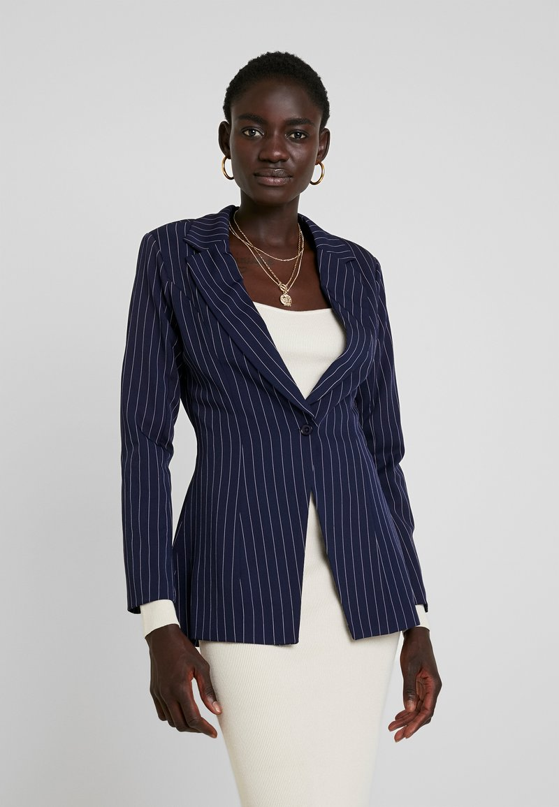 Missguided Tall - PINSTRIPE ONE BUTTON - Blazer - navy