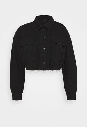 CROPPED RAW HEM JACKET - Veste en jean - black