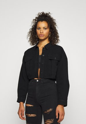 CROPPED RAW JACKET - Farkkutakki - black