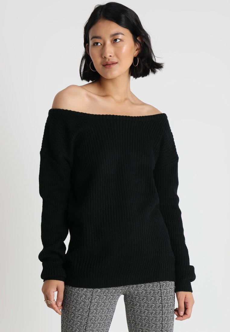Missguided Tall - OPHELITA OFF SHOULDER JUMPER - Pullover - black