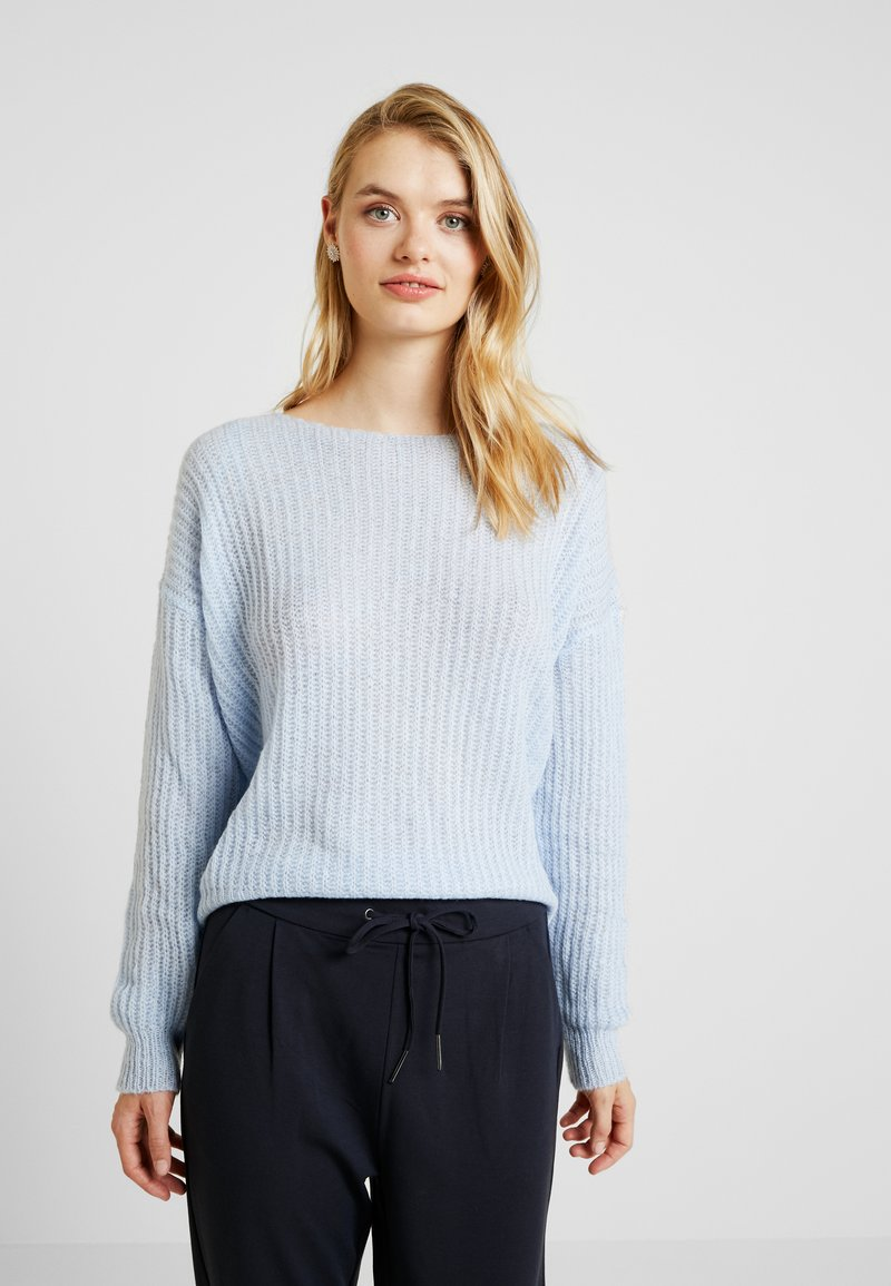 Missguided Tall - DEEP V BACK JUMPER - Strickpullover - pale blue