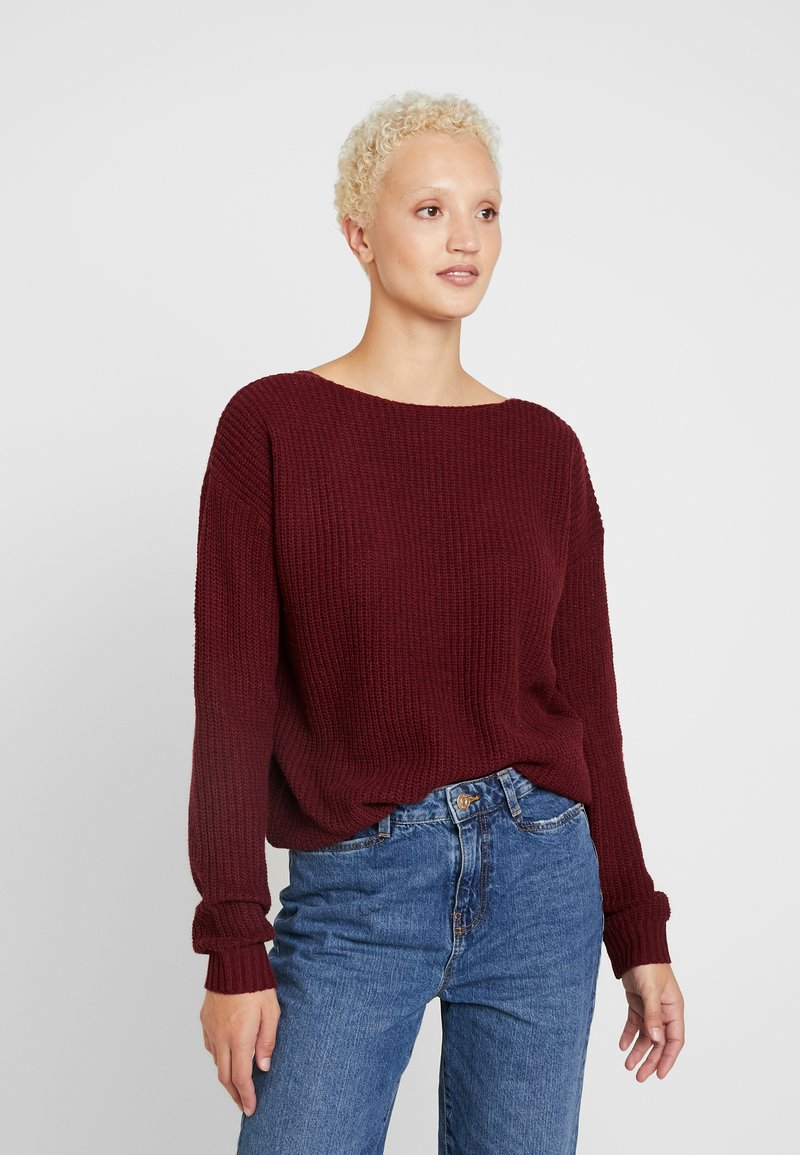 Missguided Tall - V BACK JUMPER - Strikpullover /Striktrøjer - wine