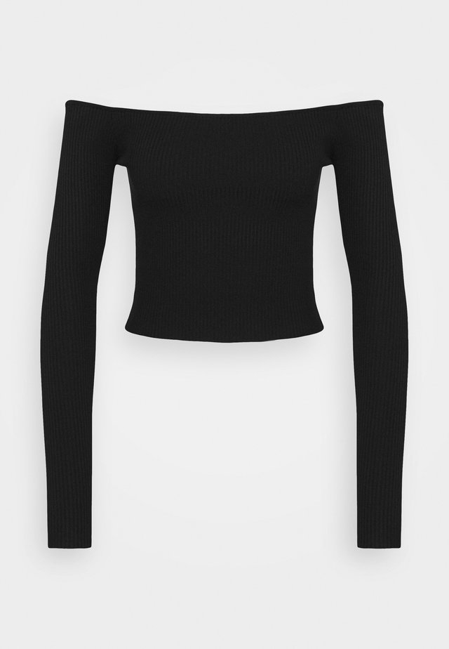 SQUARE NECK CROPPED JUMPER - Jersey de punto - black
