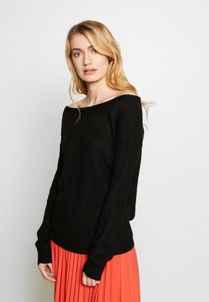 OPHELITA OFF SHOULDER JUMPER - Strikpullover /Striktrøjer - black
