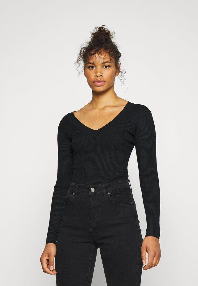 PLUNGE NECK - Pullover - black