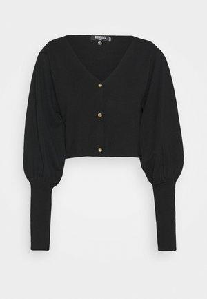 BALLOON SLEEVE CROPPED CARDIGAN - Vest - black