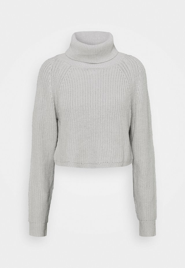 ROLL NECK BATWING CROP JUMPER - Stickad tröja - grey